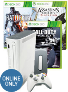 Xbox 360 20GB Console + Call of Duty: Ghosts + Battlefield 4 + Assassin's Creed IV Black Flag (Pre-owned)