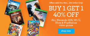 Toys 'R' Us: Buy 1 Get 1 40% Off Video Games