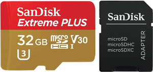 """SanDisk 32GB Extreme Plus MicroSDHC Memory Card with Adapter + 10"""" Hardshell Tablet/GPS Case"""