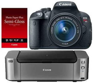 Canon EOS Rebel T5i 18MP DSLR Camera + 18-55mm Lens + Pro 100 Printer