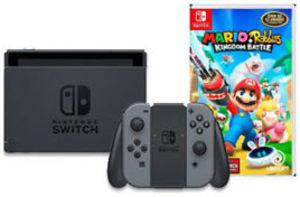 Nintendo Switch Gray Joy-Con and Mario + Rabbids Kingdom Battle