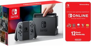Nintendo Switch (Grey Joy-Con) + 12-Month Online Membership