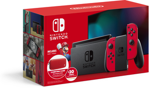 Nintendo Switch Version 2 (Red Joy-Con) + Carrying Case + $20 eShop Credit